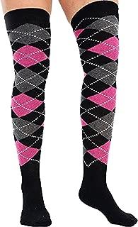 Womens Argyle Over Knee Golf Socks Bright Colours Fancy Dress Costume UK 4-6