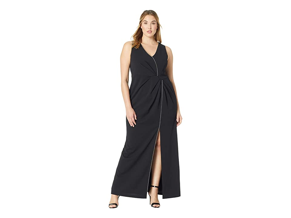 Adrianna Papell Plus Size Halter Long Dress (Black) Women