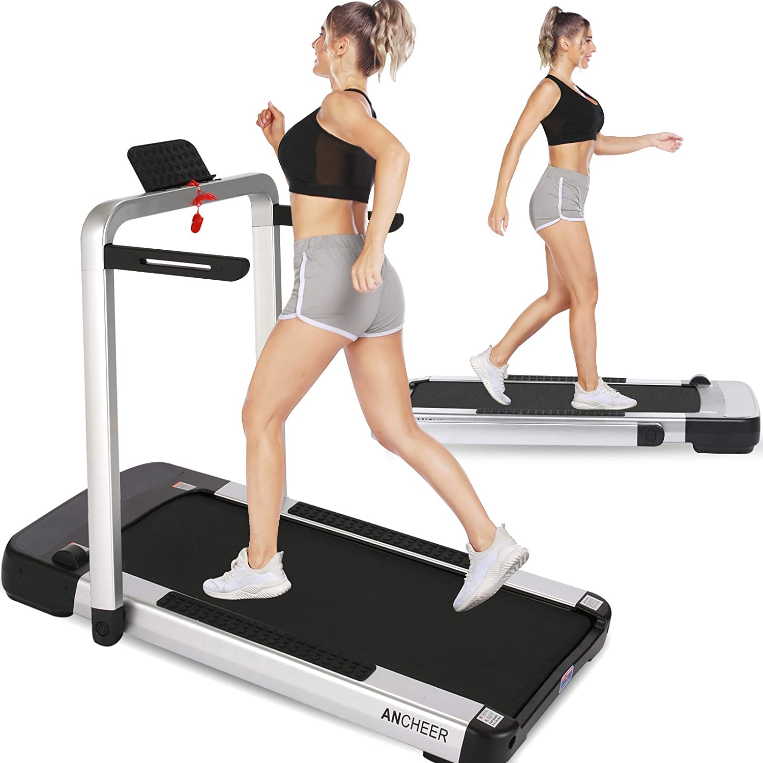 ANCHEER 2 in 1 Folding Treadmill, Portable Under Desk Treadmill for Home, Electric Compact Running & Walking Machine with App & Remote Control, LCD Display, No Assembly