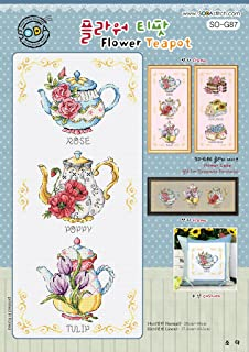 SO-G87 Flower Teapot, SODA Cross Stitch Pattern leaflet, authentic Korean cross stitch design chart color printed on coated paper