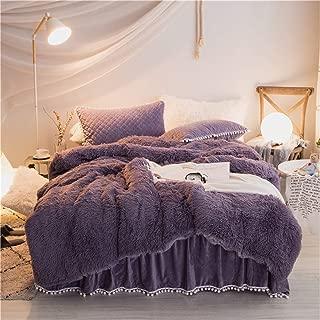MooWoo3 PCS Shaggy Bedding Sets, 1 Velvet Flannel Duvet Cover + 2 Pompoms Fringe Pillow Sham, Zipper Closure Velvet Bedding Sets (Plum Purple, Queen)