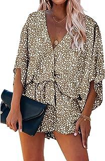 PRETTYGARDEN Women's Fashion Leopard Print Shorts Jumpsuit Wrap V Neck 3/4 Short Sleeve Casual Loose Romper with Pockets