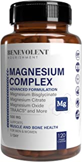 Magnesium Complex 500mg - Magnesium Citrate, Oxide, Taurate, Bisglycinate Chelate TRAACS - Max Absorption Supplement for S...