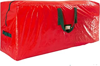 "Premium Red Large Holiday Christmas Tree Storage Bag-Fits Trees Up to 7 Feet Tall-Tear Resistant Zippered Bag with Reinforced Handles -48"" L x 20"" W x 15"" D (Red)"