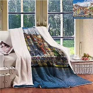 Sunnyhome Custom Blanket Travel Nostalgic Portuguese Town Upgraded Thick Lazy Blanket W59x78L