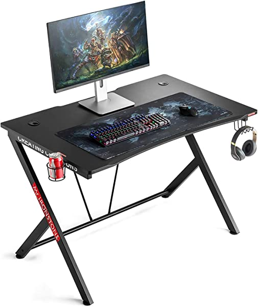 Mr IRONSTONE Gaming Desk 45 3 Gaming Table Home Computer Desk With Cup Holder And Headphone Hook Gamer Workstation Game Table 45 3 Wx29 D