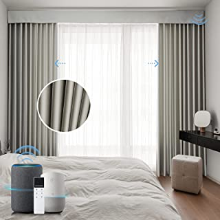 Graywind Motorized Blackout Curtain Set Smart Rod Remote Control Drapes Work with Alexa Google Home for Bedroom Office Liv...