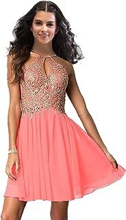 Lily Wedding Junior Halter Gold Applique Prom Dresses 2019 Short Sleeveless Chiffon Homecoming Party Dress