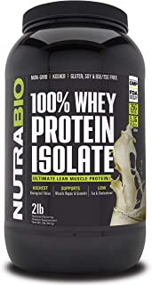 NutraBio 100% Whey Protein Isolate (Vanilla, 2 Pounds)