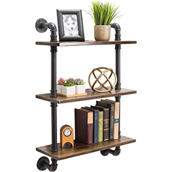 """3-Tier Rustic Wooden Wall Floating Shelf Display 24""""x36"""" With Iron Pipe For Kitchen, Bedroom, Office"""