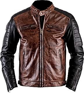 III-Fashions Men's Cafe Racer Antique Brando Vintage Black Rider Motorcycle Leather Jacket