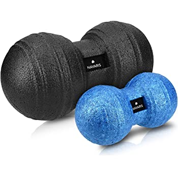 Navaris 2x Peanut Duo Massageball - in 2 Größen - Selbstmassage Duoball Faszienball Set - Trigger Point Massage Ball - Faszienbälle