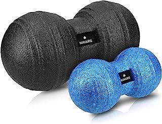 Navaris 2X Bolas de Masaje - Bolas en Forma de Cacahuete para automasaje - Rodillo para liberación miofascial - Massage Balls Negro y Azul