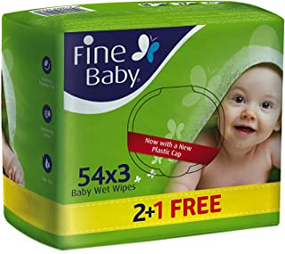 Fine Baby Wet Wipes 54 Sheets 1 Ply 2+1 free