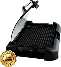 "MegaChef Heavy Gauge Aluminum Reversible Indoor Grill and Griddle with Removable Glass Lid, 15"" by 11"", Black"