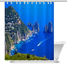 Stylish Shower Curtain with Printed Pattern Capri Panorama Faraglioni Tyrrhenian sea Bay of Naples Italy Water Repellent Shower Curtains for Shower and Bathtub