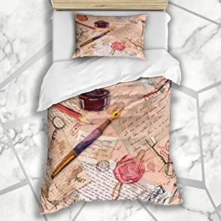 Ahawoso Duvet Cover Sets Twin 68x86 Vintage Aged Paper Scrapbooking Water Hand Ink Written Notes Accessories Textures Pencil Education Soft Microfiber Decorative Bedroom with 1 Pillow Shams