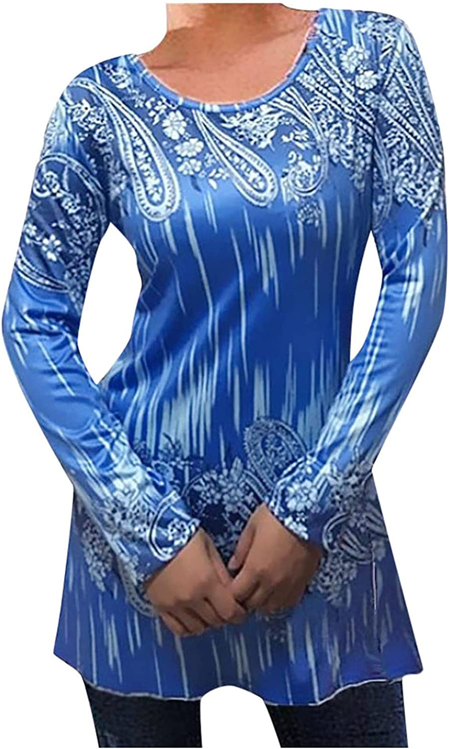 Olivcker Women Tunic Tops Flower Print Round Neck Long Sleeve Casual Comfy Soft Daily Fashion Blouses Slim Shirts