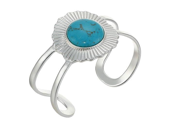 Lucky Brand  Turquoise Statement Cuff Bracelet (Silver) Bracelet