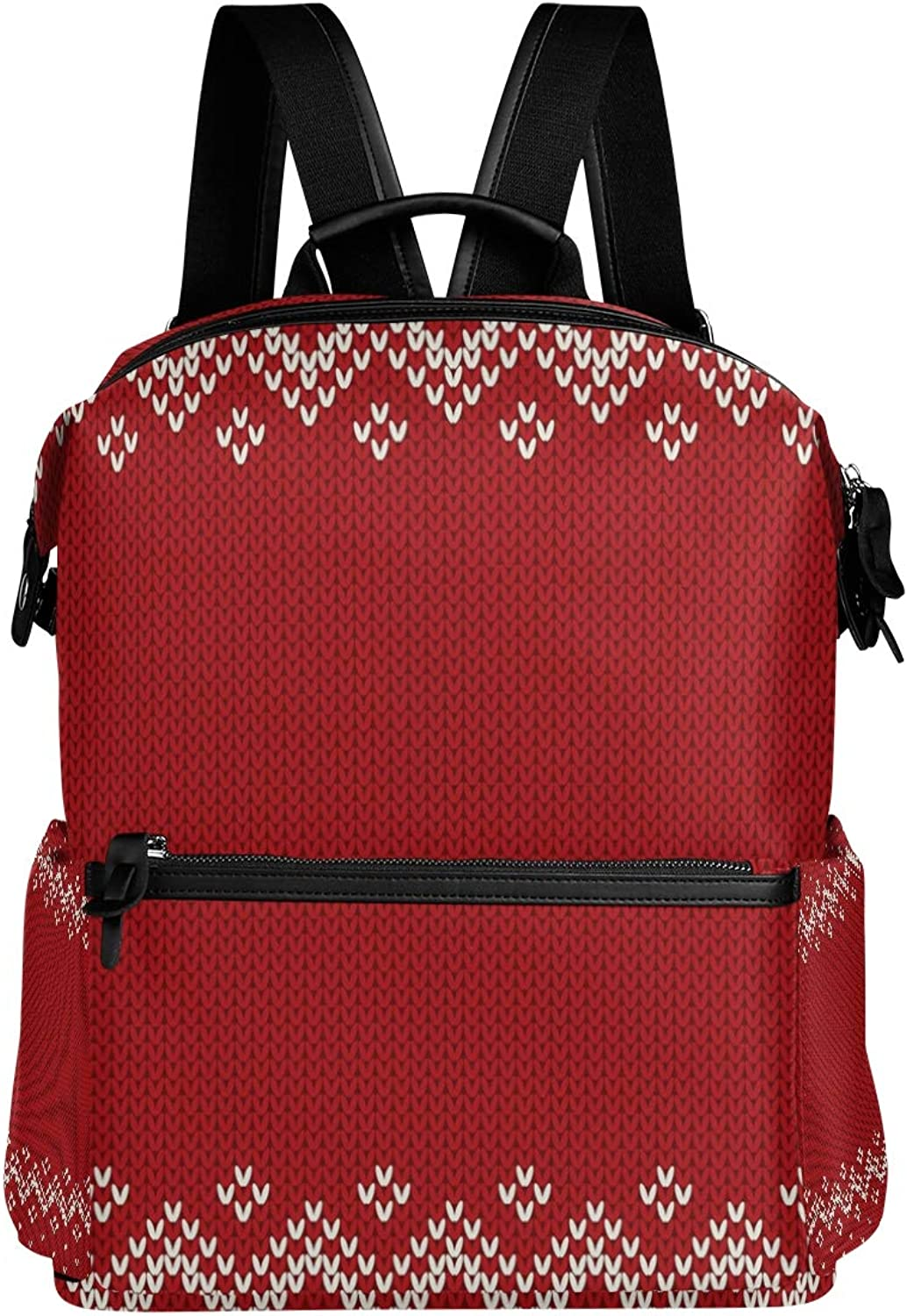 MONTOJ Red Classic Knitting Pattern Leather Travel Bag Campus Backpack