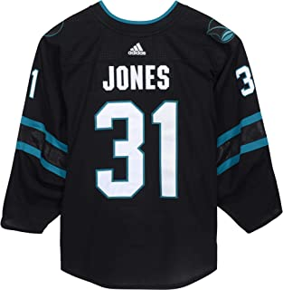 ba658b0f7 Martin Jones San Jose Sharks Game-Used  31 Black Jersey from Games Played  Between