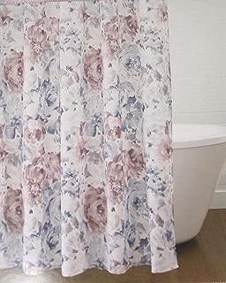 Croscill Lyla Floral Shower Curtain Cotton Blue and Mauve 72