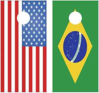 Lets Print Big American Flag and or Brazilian Flag Your Choice Cornhole Board Decal Wraps