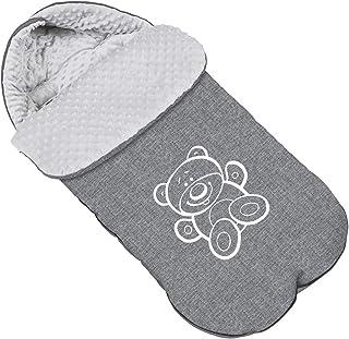 Baby Fußsack WinterFußsack für Kinderwagen Minky Maße 85 cm für Buggy Mit Kaputze Teddybär Flachs [071]
