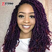 3 Pack Spring Twist Ombre Colors Crochet Braids Synthetic Braiding Hair Extensions Low Temperature Fiber (Dark&Light Wine)