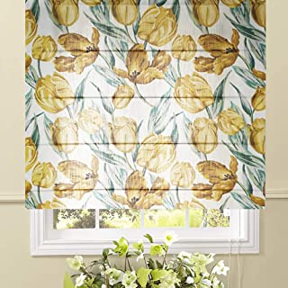 Artdix Roman Shades Blinds Window Shades - Tulip 35 W x 72L Inches (1 Piece) Blackout Solid Fabric Custom Made Roman Shades for Windows, Doors, Home, Kitchen, Living Room