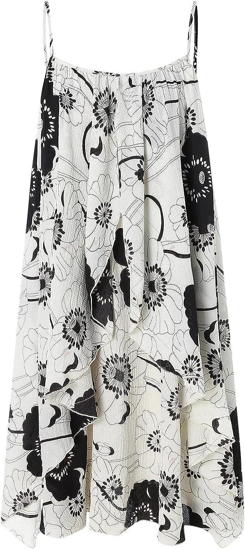 MOKINGTOP Women's Casual Maxi Dress Print V Neck Sleeveless Cami Dress with Pockets