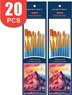 Paint Brush Set by heartybay, 2Pack 20 Pcs Nylon Hair Brushes for Acrylic Oil Watercolor Painting Artist Professional Painting Kits