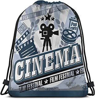 Drawstring Tote Bag Gym Bags Storage Backpack, Vintage Cinema Poster Design with Grunge Effect and Old Fashioned Icons,Very Strong Premium Quality Gym Bag for Adults & Children
