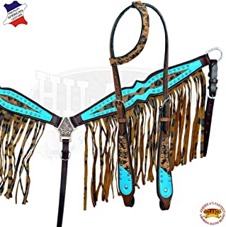 Western Horse One Ear Headstall Breast Collar Set Tack American Leather