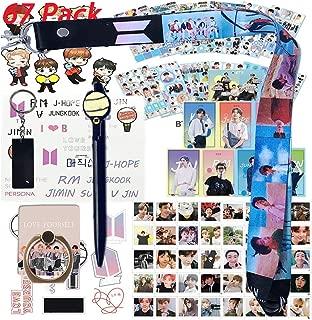 Bangtan Boys Set - 12 Sheet of Stickers, 40 Pack Photo Card, 8 Pack Ins Photo cards, 2 Pack 3D Stickers, 1 Pack Long Lanyard, 1 Pack Phone Ring, 1 Pack Key Chain, 1 Pack Pen,1 Pack Tattoo Sticker