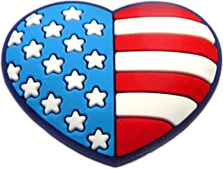 USA Flag Heart Rubber Charm for Wristbands and Shoes
