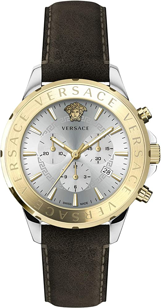 Versace chrono signature, orologio da uomo con cronografo, cinturino in pelle marrone e cassa in acciaio VEV600219