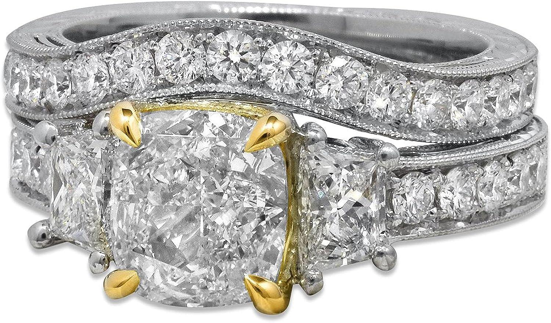 Bridal Set 3 CT Stones Cut Engagement Mesa Mall Rings Gorgeous Moissanite Cushion