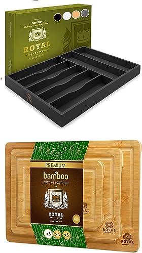 Black Basic Drawer Organizer and Cutting Board Set of 3