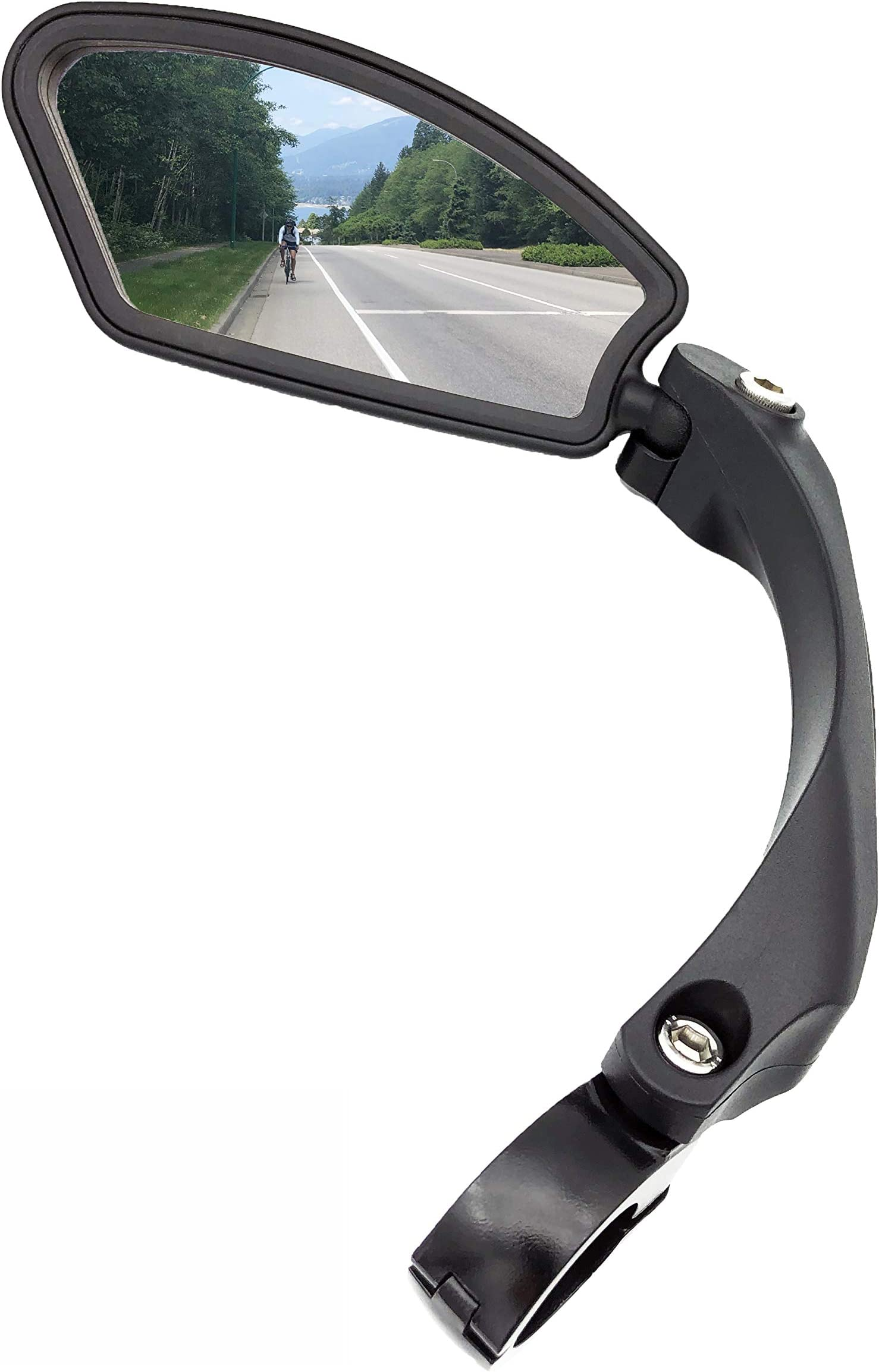 Bike Back View Mirror Adjustable Angle Bicycle Rearview Mirrors Handlebar Mirror Stainless Steel Glass Lens Safe Bike Mirror with Reflective Stripe