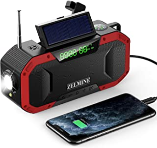 Wind Up Radio, Emergency Solar Powered Radios Bluetooth Speaker, Portable AM/FM Radio with Led Flashlight Ipx6 Waterproof ...