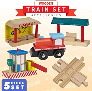 Dragon Drew Wooden Train Accessories Set – Includes Train Car, Garage, Station Platform, Toll and a 4 Way Cross Track - Compatible with Brio, Thomas, Chuggington and All Major Brands
