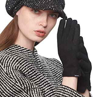 CACUSS Women Winter Wool Knit Gloves Touchscreen Texting Finger Tips with Warm Thermal Fleece Lining