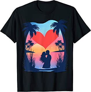 Couple On The Beach Island Sunset Valentines Day Gift T-Shirt