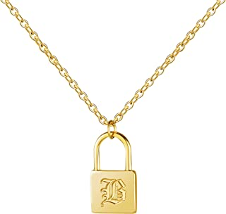 MEMGIFT 18K Real Gold Dainty Initial Lock Necklace Cute Simple Minimalist Personalized Jewelry Letter Engraved for Girlfriend Wife Mom Daughter Best Friend Sister Fiancee