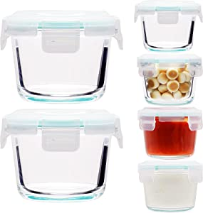4oz Glass Small Food Storage Containers,Containers with Airtight BPA-Free Locking Lids - Food containers - Microwave & Dishwasher Safe, Set of 6