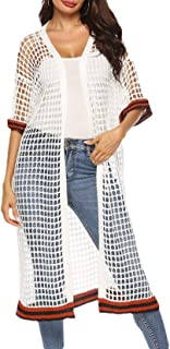 Womens Hollow Out Tunic All-Match Stripe Smock Fishnet Half Sleeve Cardigan