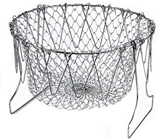 Chef Basket, 304 Stainless Steel Foldable Steam Rinse Strain Fry Basket Strainer Net Kitchen Cooking Tool for Fried Food or Fruits