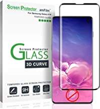 amFilm Glass Screen Protector for Galaxy S10, Not Compatible with The Fingerprint Scanner, Tempered Glass, Dot Matrix with Easy Installation Tray