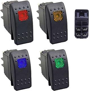 Qiorange 12V Wasserdicht Auto KFZ Schalter Wippschalter EIN/Ausschalter LED Beleuchtet 1 Rot+1 Gelb+1 Grün+1 Blau (Set A)